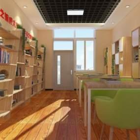 现代学生阅览室3D模型【ID:933574616】