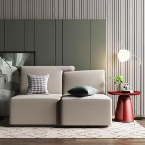 現代雙人沙發3D模型【ID:650556573】
