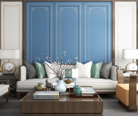 新中式沙发背景墙组合3D模型【ID:640628609】