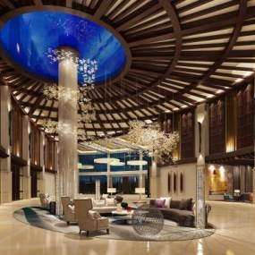 现代酒店大厅3D模型【ID:734503006】