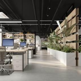 工业风敞开式办公室3D模型【ID:947105066】