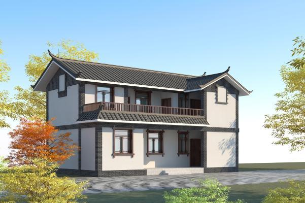 中式传统民居 两层别墅 青瓦青砖 白墙双坡顶