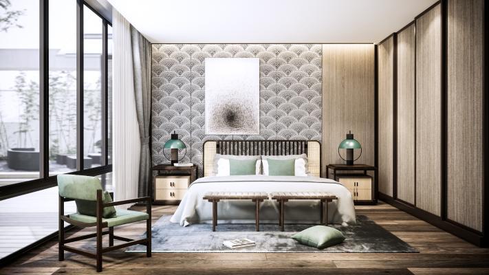 现代卧室 休闲椅 吊灯