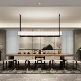 新中式茶室 3D模型【ID:642126173】