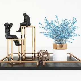 現代輕奢花瓶花卉雕塑擺件3D模型【ID:248196531】