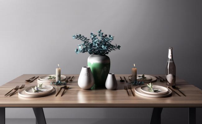 现代餐具碗具组合3D模型【ID:648746317】