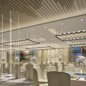 新中式酒店宴会厅3D模型【ID:734472296】