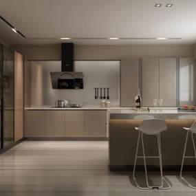 现代厨房3D模型【ID:535286364】