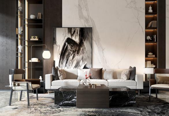 现代沙发组合3D模型【ID:642279756】