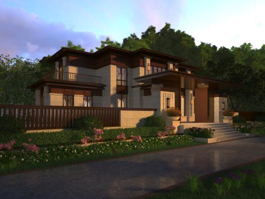 新中式别墅3D模型【ID:145106323】