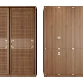 新中式開門移門衣柜組合3D模型【ID:130946472】