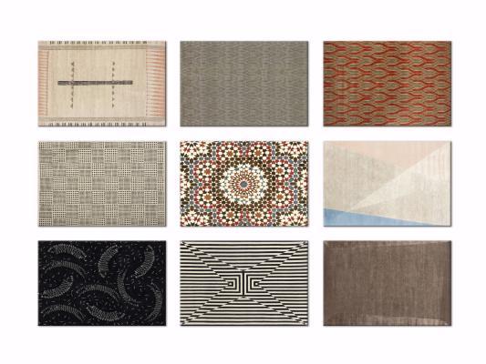 现代几何撞色装饰地毯3D模型【ID:342526290】