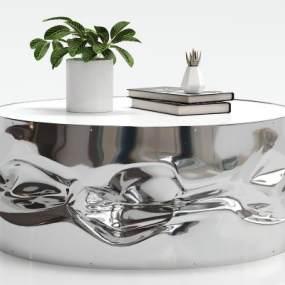 现代不锈钢茶几摆件组合3D模型【ID:630452865】