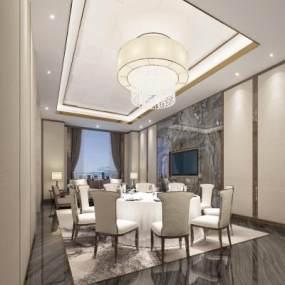 新中式中餐廳包廂3D模型【ID:646038832】