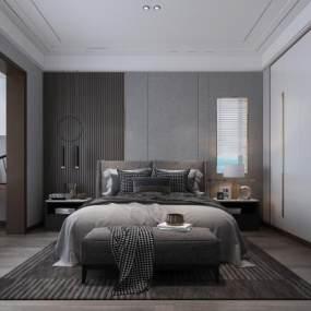 现代卧室3D模型【ID:553363289】
