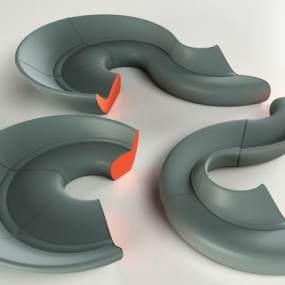 异形组合沙发 3D模型【ID:640933721】