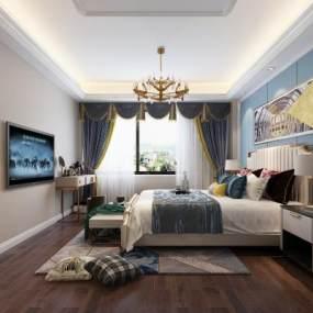 现代轻奢卧室3D模型【ID:547347274】