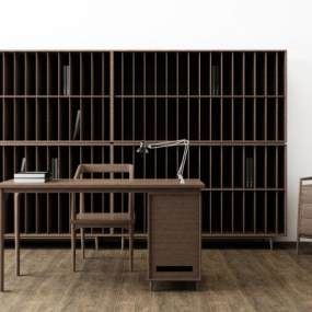 现代北欧书桌椅书柜矮柜组合 3D模型【ID:941293055】