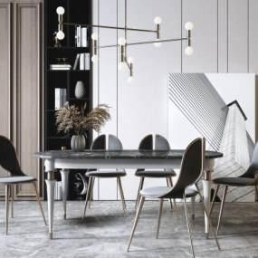 現代輕奢金屬餐桌椅3D模型【ID:852579839】