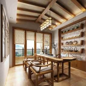 新中式茶室茶桌3D模型【ID:636044136】