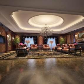 歐式酒店接待室3D模型【ID:642926518】