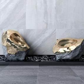 现代石头摆件3D模型【ID:345248127】