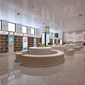 现代图书馆阅读室3D模型【ID:934348859】
