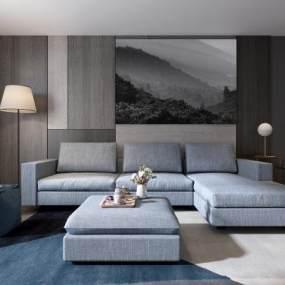 现代客厅沙发茶几组合3D模型【ID:530431072】
