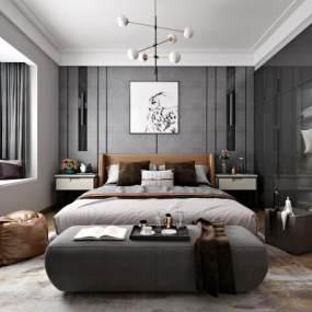 现代卧室3D模型【ID:542704218】