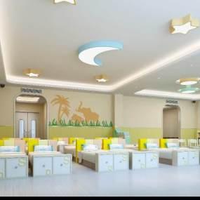 现代幼儿园合寝教室3D模型【ID:932324647】