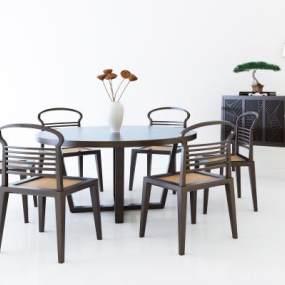 新中式餐桌椅组合 3D模型【ID:842240870】