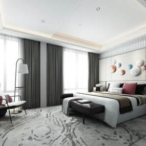 现代轻奢卧室3D模型【ID:542703280】