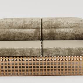 现代木纹绒布沙发3D模型【ID:634444541】