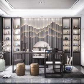 新中式书房3D模型【ID:545701498】