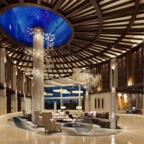 现代酒店大堂3D模型【ID:752598093】