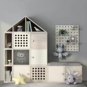现代儿童书柜3D模型【ID:545367107】