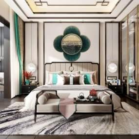 新中式卧室3D模型【ID:535515207】