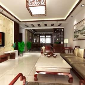 中式客厅3D模型【ID:536157086】
