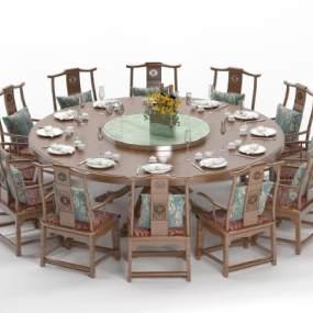 新中式餐桌3D模型【ID:853764859】