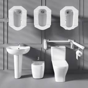 现代马桶蹲便器拖把池残疾人扶手栏杆3D模型【ID:630496415】