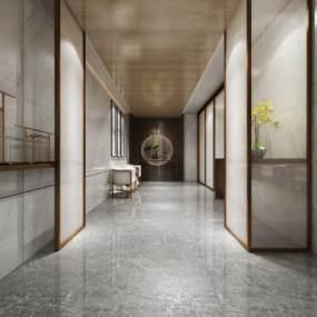 新中式酒店过道3D模型【ID:632238607】