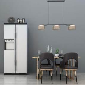 现代餐桌椅吊灯冰箱组合3D模型【ID:834461856】