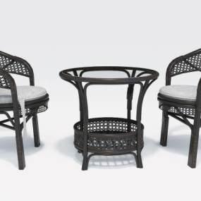 现代室外休闲桌椅3D模型【ID:732129497】
