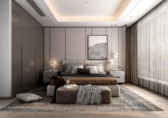 现代轻奢卧室3D模型【ID:553247266】