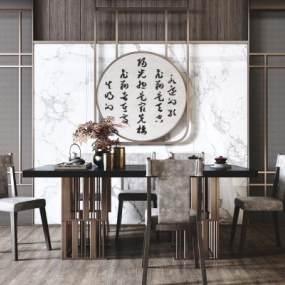 新中式高檔餐桌椅組合3D模型【ID:852510804】