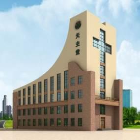 现代天主教堂3D模型【ID:232950187】