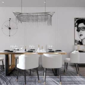 现代餐厅餐桌餐椅挂画组合3D模型【ID:531603198】