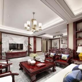 新中式別墅客廳3D模型【ID:546840032】