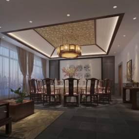新中式餐厅 3D模型【ID:642238878】