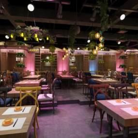 工业风音乐餐厅3D模型【ID:630921247】